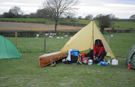 One man and his tent at Greaves Farm, Cabus, Garstang.